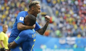 Neymar celebrates with team-mate Douglas Costa after his goal against Costa Rica – the second that Brazil scored in stoppage time.