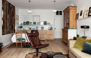 The kitchen/living/dining space in Camille Hernand's maisonette in the Marais district of Paris