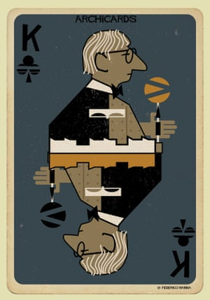Louis Kahn portrayed in one of Federico Babina's Archicards