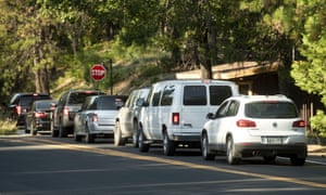 Unhappy campers: vehicles leaving Yosemite national park on Tuesday.