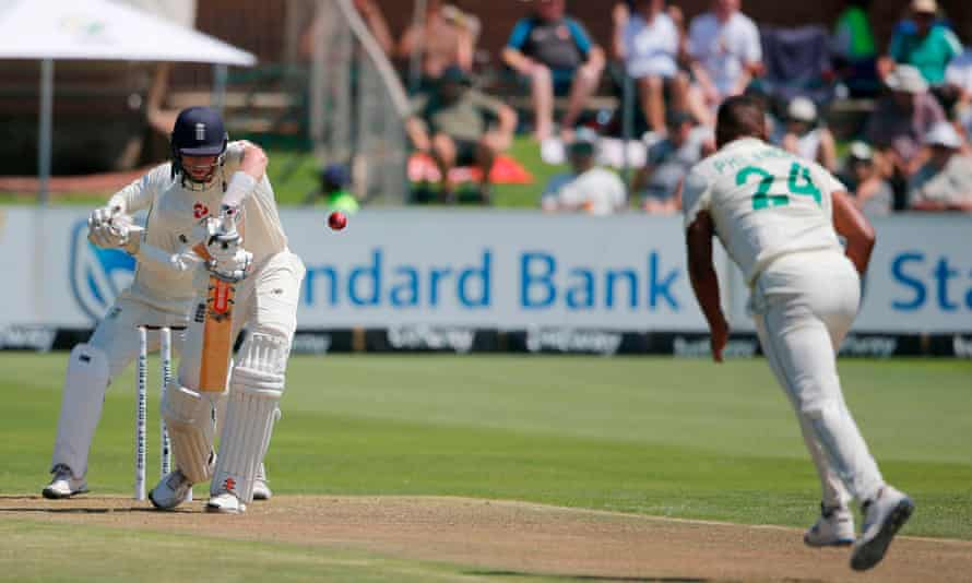 England's Zak Crawley defends against the South Africa paceman Vernon Philander.