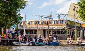 Hannekes Boom restaurant's waterfront terrace, in Amsterdam, the Netherlands.