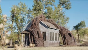 Sculptor piece, called Daydreams, by Patrick Dougherty (2015). This resembles a19th-century prairie school. Built using local willow it is intended to evoke a dreamlike atmosphere settling over a class.