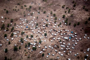 An aerial view of a settlement of displaced families in Aburoc, South Sudan