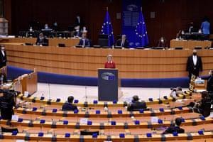 Ursula von der Leyen addressing the European parliament in Brussels this morning.