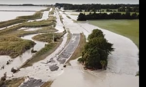 Roads were flooded in Timaru in New Zealand's South Island after the Rangitata river burst its banks.