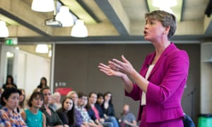 Yvette Cooper speaks during a women's event in London