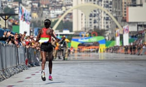 Kenya's Jemima Jelagat Sumgong runs to the finish line to win the women's marathon at the 2016 Rio Olympics.