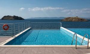 Pool overlooking the sea at Little Bird, Lesvos, Greece