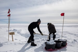 Scientists melting snow to provide drinking water