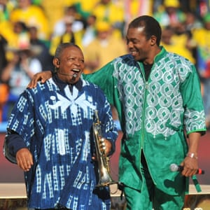Hugh Masekela, left, and the Nigerian singer Femi Kuti performing during the opening ceremony of the 2010 FIFA World Cup.