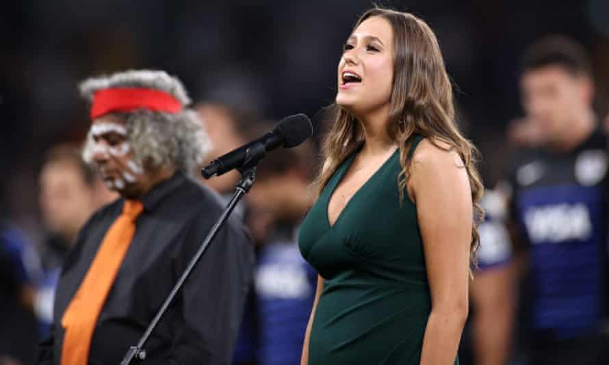 Olivia Fox sang the Australian anthem in Eora language at Sydney's Bankwest Stadium before a Wallabies match.