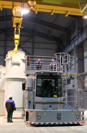 Specially commissioned machinery is used to pack the spent nuclear fuel