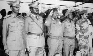 Omar al-Bashir (centre) with other Revolutionary Council officers in 1989.