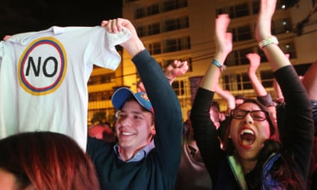 'No' supporters celebrate following their victory in the referendum on a peace accord