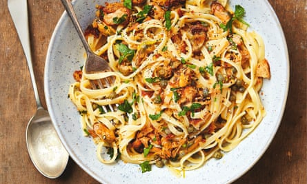 Thomasina Miers' linguine with smoked mussels, lemon and capers.