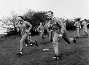 Leeds United manager Don Revie training with Jack Charlton in April 1970.