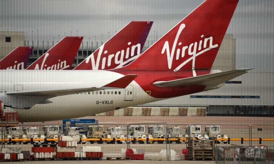 Virgin Atlantic planes at Manchester airport