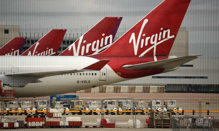Virgin planes parked up on tarmac