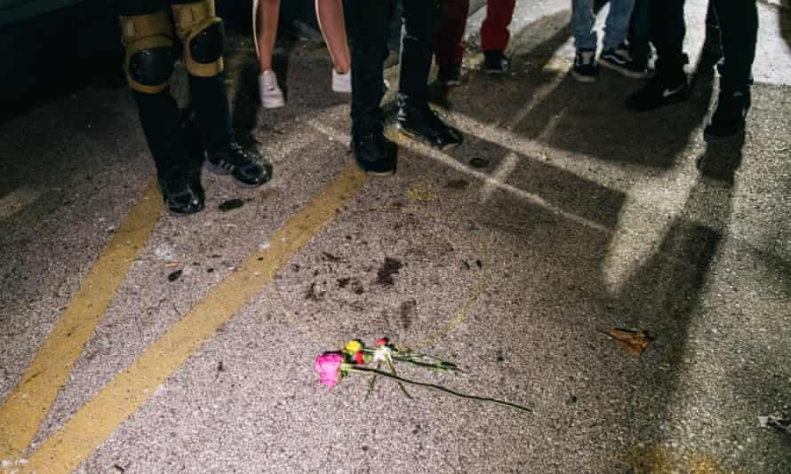 Demonstrators visit the site where a man was killed on 26 August 2020 in Kenosha, Wisconsin.