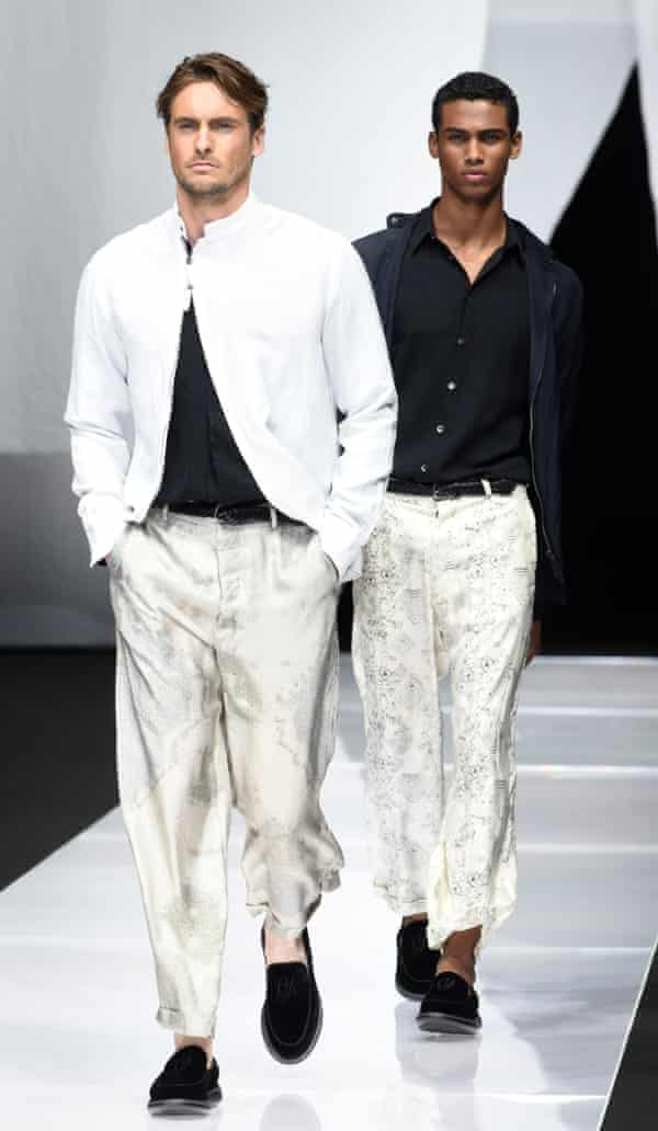 Relaxed silky separates were paired with suede loafers and minimal accessories at Armani.