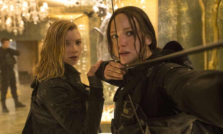From left, Natalie Dormer and Jennifer Lawrence in The Hunger Games: Mockingjay – Part 2.