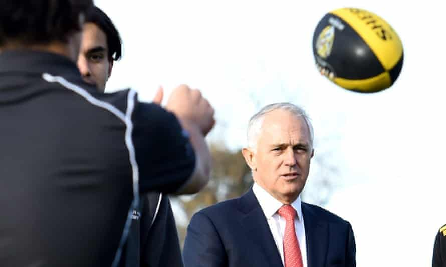 Malcolm Turnbull at Richmond football club during the 2016 election campaign