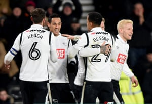 Tom Ince of Derby County celebrates after scoring during the Sky Bet Championship match against Reading
