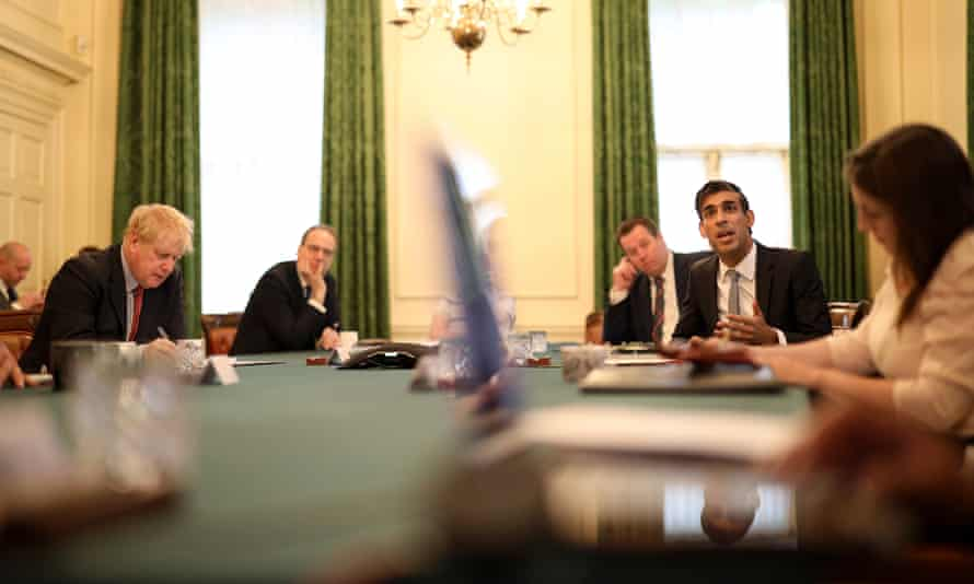 Rishi Sunak, chancellor of the exchequer, addresses a cabinet meeting inside No 10 Downing Street on the day he delivered his summer statement to the House of Commons.