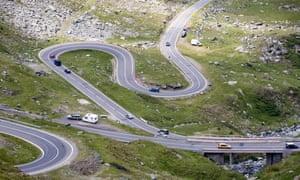Cars on the Transfagarasan highway in Romania