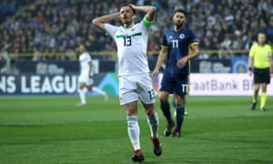 Northern Ireland's Corry Evans reacts after a missed chance in Sarajevo.