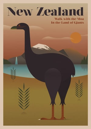 The moa, New Zealand, from a series of posters entitled Unknown Tourism by Expedia