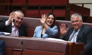 Senators Stirling Griff, Jacqui Lambie and Rex Patrick
