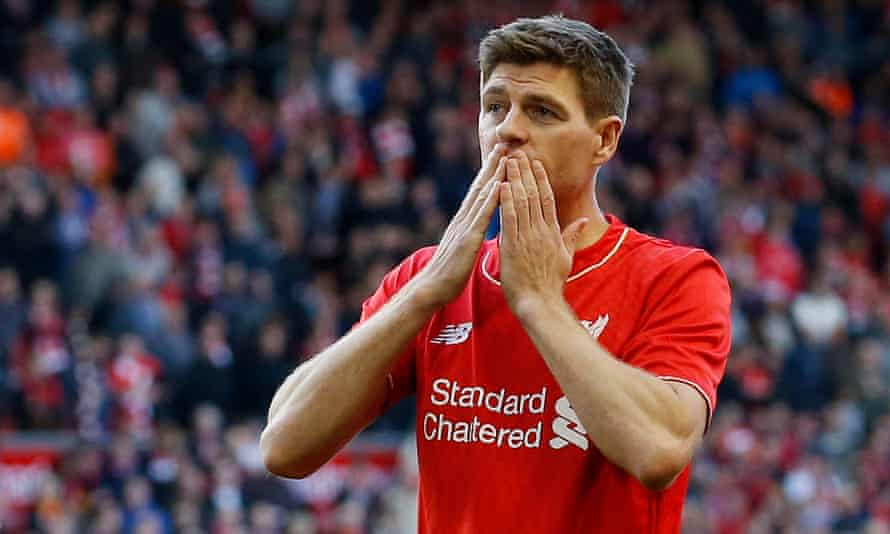 Steven Gerrard, pictured after his last Liverpool game at Anfield against Crystal Palace in 2015, is delighted his former team have won the Premier League.