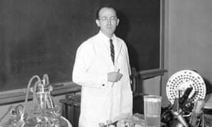 Dr Jonas Salk, who developed the first polio vaccine, in his laboratory in Pittsburgh, 1955.
