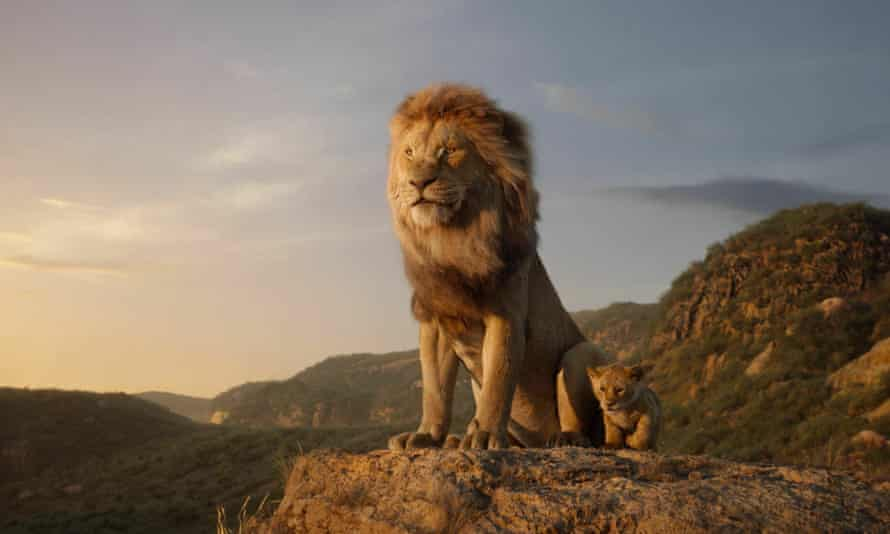 Mufasa, voiced by James Earl Jones, and young Simba, voiced by JD McCrary, in Disney's The Lion King