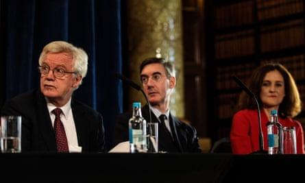 David Davis, Jacob Rees-Mogg MP and Theresa Villiers attend an Institute of Economic Affairs (IEA) panel discussion to launch their latest Brexit report.