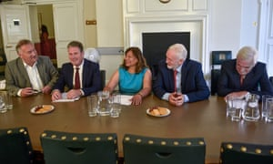 Nick Brown, Keir Starmer, Valerie Vaz, Labour Leader Jeremy Corbyn and John McDonnell prepare for a meeting with other opposition party leaders to discuss ways of averting a no-deal Brexit.