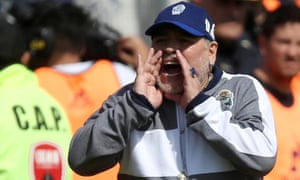 Diego Maradona shouts instructions for his Gimnasia y Esgrima during a match against Racing Club in September.