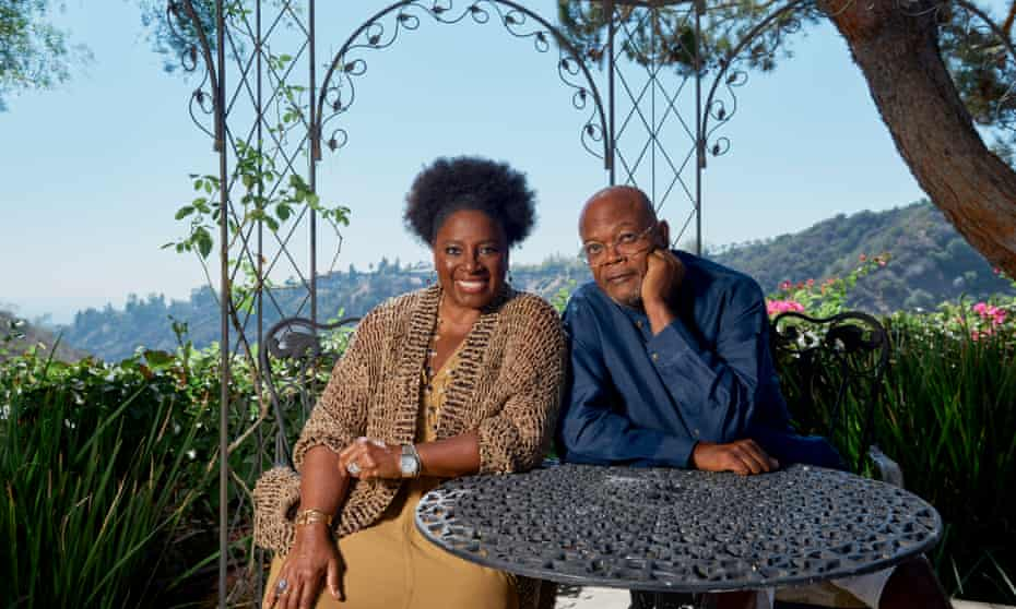 'Gabon makes me feel alive in a way that I don't feel here' … Jackson with Richardson at their LA home.