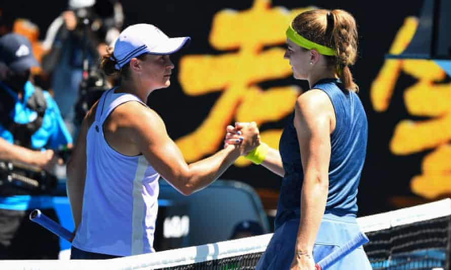 Czech Republic's Karolina Muchova shakes hands with Ashleigh Barty after winning the Australian Open quarter-final at Melbourne Park.