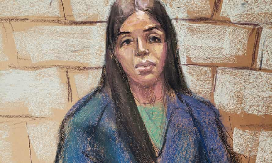 Emma Coronel Aispuro, the wife of Mexican drug cartel boss Joaquín 'El Chapo' Guzmán, appears during a virtual hearing in federal court in Washington DC on Tuesday.