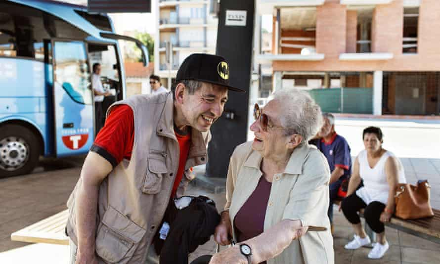 Mother's mission: Margarita Martínez with her son Luis, who has been working at La Fageda for eight years.