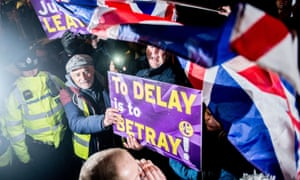 "A pro-Brexit protest outside parliament in London on 14 March 2019. Ukip supporters followed pro-EU activist Steve Bray and his wife to his car shouting abusive terms including ""traitor"" and singing chants in support of far-right activist Tommy Robinson."