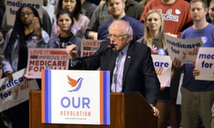 Vermont Sen. Bernie Sanders addresses supporters at a Medicare for All rally on 20 October.