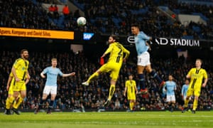 Manchester City's Gabriel Jesus scores their fifth goal to complete his hat-trick.