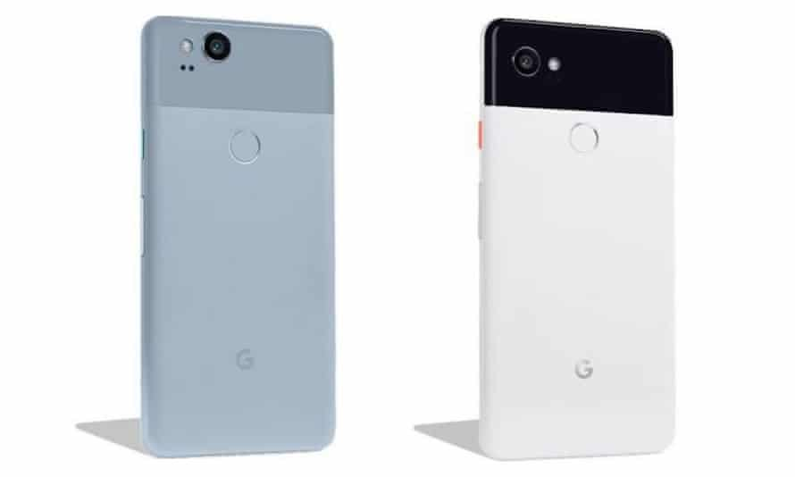 Leaked images of the blue Google Pixel 2 on the left and the white and black Google Pixel 2 XL on the right, first published by technology site Droid Life.