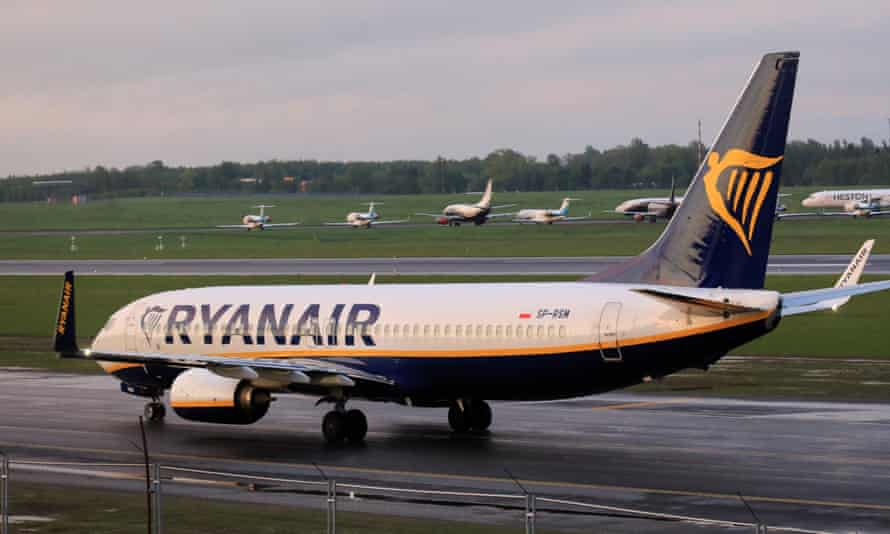 A Ryanair Boeing 737-800 lands at Vilnius international airport in Lithuania after being diverted to the Belarusian capital under the escort of a Mig-29 fighter jet.