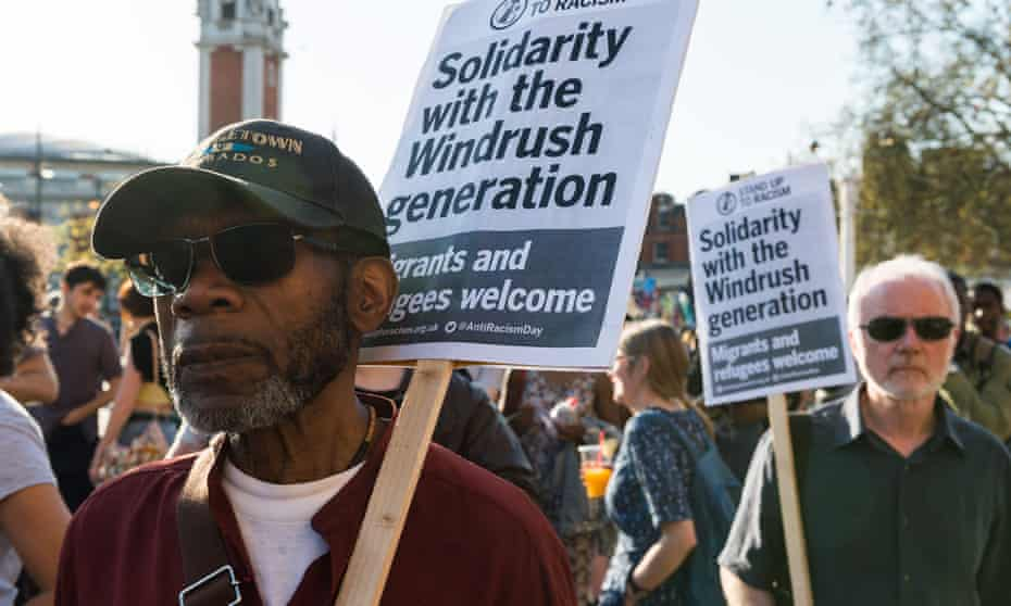 Marchers at a Windrush rally in London.