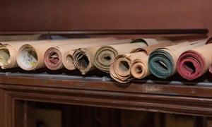 Vintage wallpaper rolls